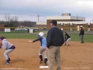 Coach Alan Knight working the 1ST base box