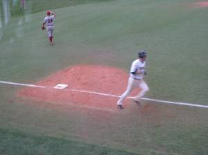 Rodriquez rounding third after his solo HR in game 2