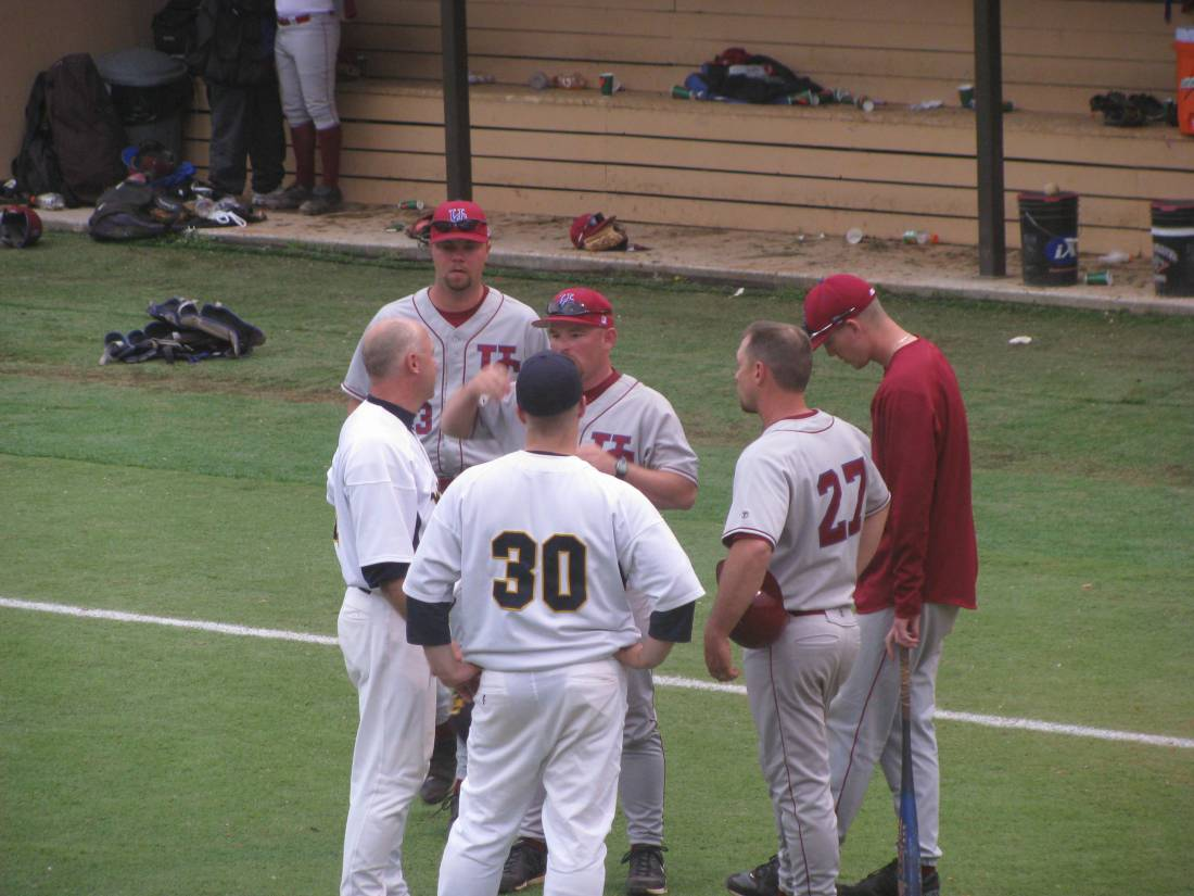 Coaches meeting after the second game.