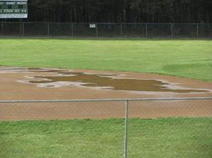 Standing water on the infield