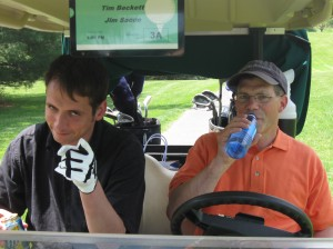 The Tim & Jim Show proved to be entertaining. Note: That is a bottle of water Tim is drinking.