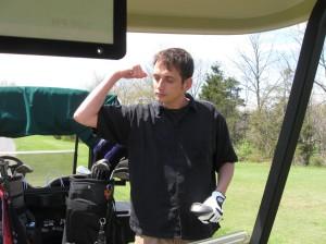 Jim flexin after droping a 45 foot putt that had a 6 foot break!
