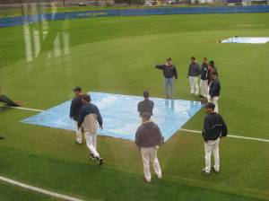 Getting the field ready for the twin bill