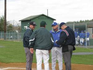 Coach Mac and Coach Vic going over the ground rules with Blue