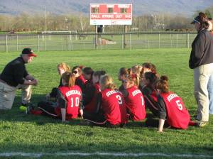 Coach Hunt instructing his squad.