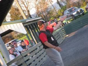 Coach Harlow working the 3RD base coaching box