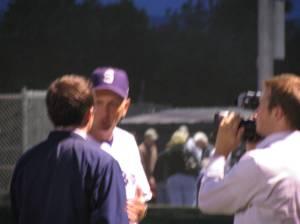 Head Coach Jeff Smoot doing post games interviews