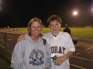 Julie and her son Ryan after the game on Friday night.