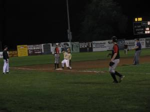 Game action at the Hot Corner