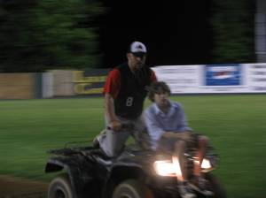 The Harlow's working the infield after the contest.