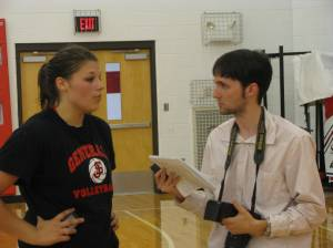 SJHS's Heather Stout and Herald's John Galle after the Generals match.