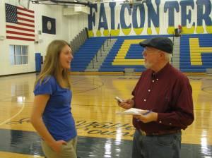 NVD's Dennis Atwood interviewing Centrals' Allison Huckstep